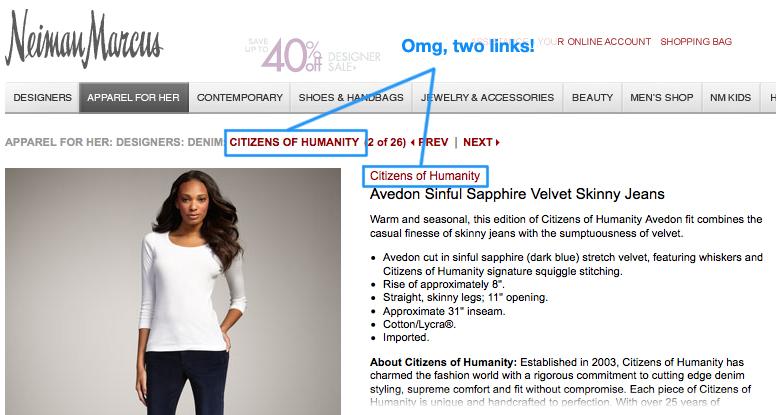 Neiman Marcus Product Page Screenshot