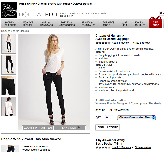 Saks Fifth Avenue Product Page Screenshot