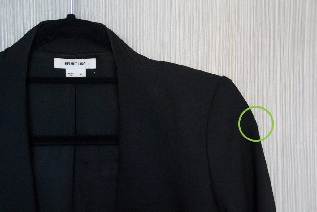57f62b1ae Above: In the green circle, you can see a bump created by the hanger poking  out of the sleeves of my jacket.
