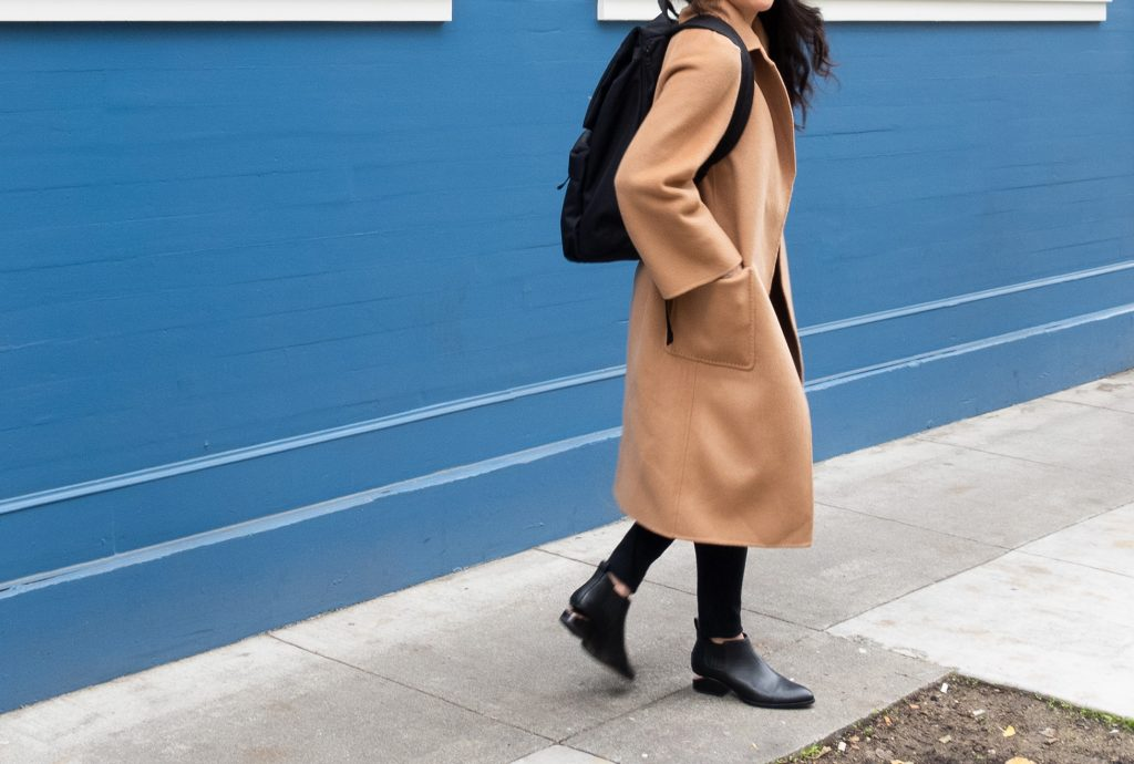 The Curated Coat Side View, Classic Coat in Camel