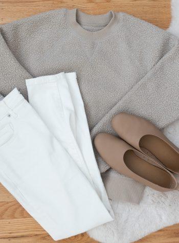 Winter Whites: Everlane ReNew Fleece and White Jeans