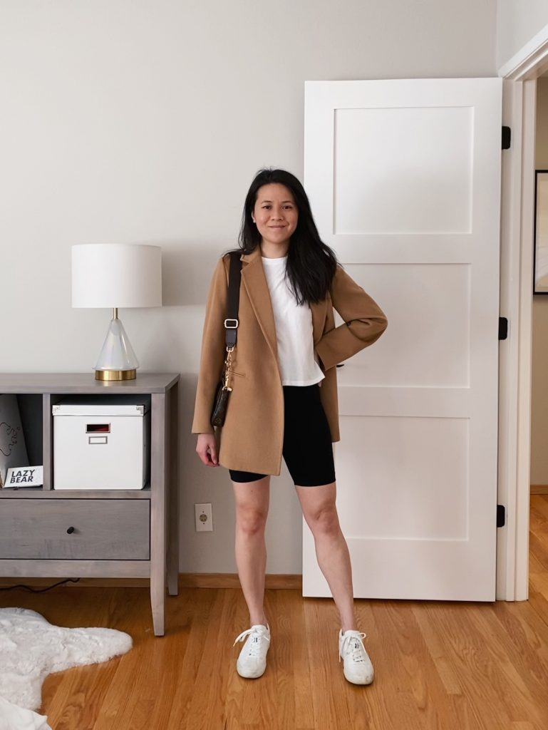 Biker Shorts Outfit with Blazer