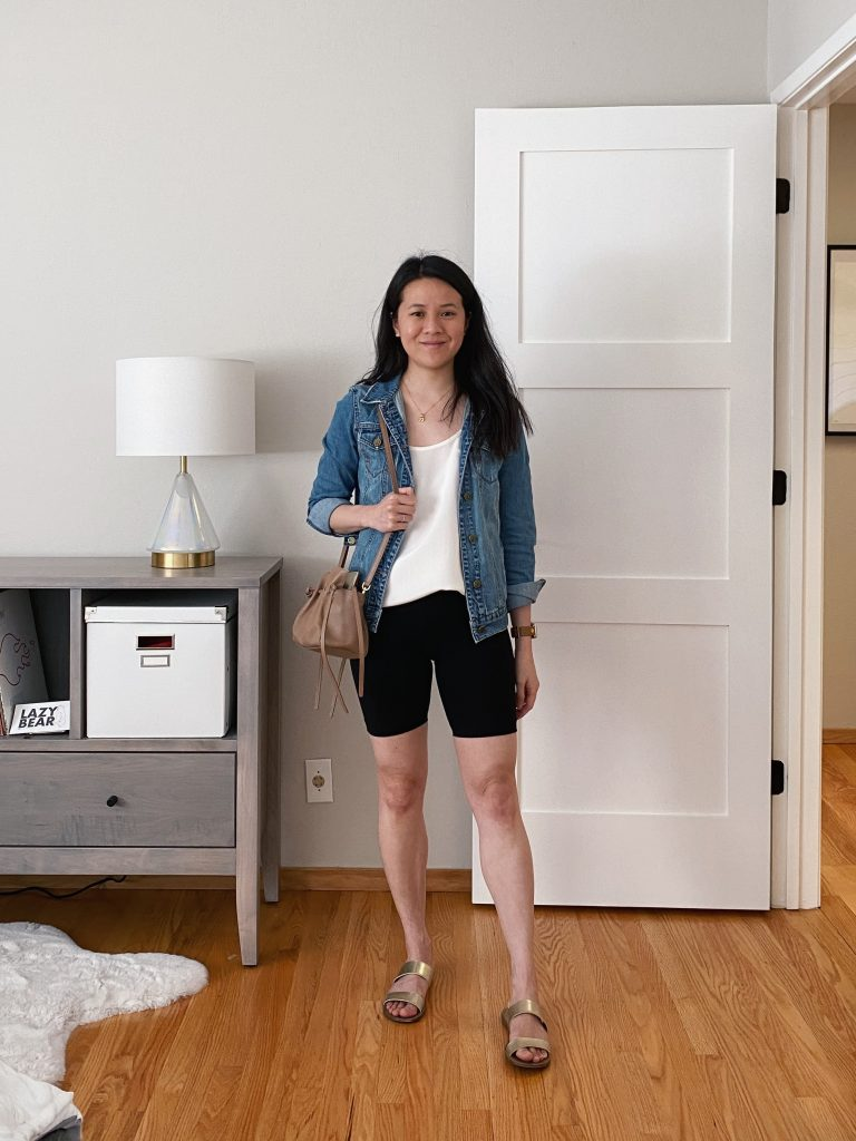 Biker Shorts Outfit with Silk Tank