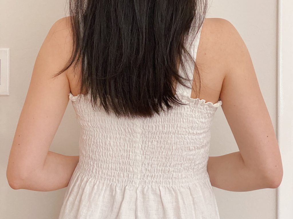Back View of DIY Shirred Dress with Straps